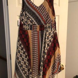 Flattering v neck handkerchief dress
